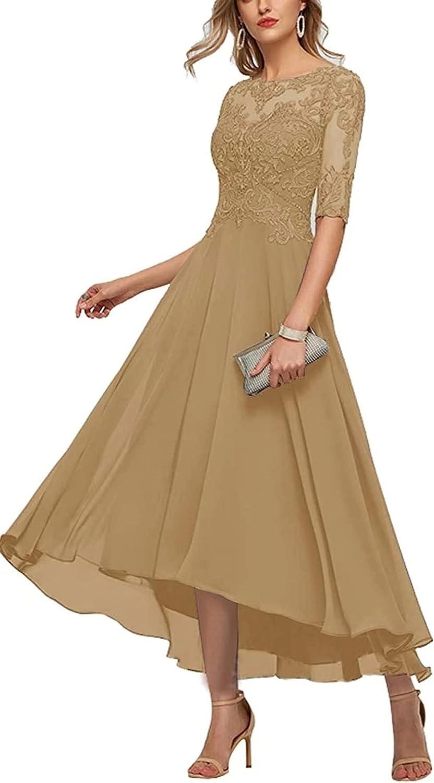 Women's Scoop Neck Mother of The Bride Dresses Chiffon 1/2 Sleeves Elegant Formal Evening Dress