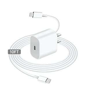 iPad Pro Charger, USB-C Fast Apple Tablet Charger Cable, for iPad Pro 12.9 2021/20/18, iPad Pro 11 Gen 3/2/1, iPad Air 4th, iPad Mini 6,PD Wall Charger Plug Block with 10FT Type-C to C Charging Cable