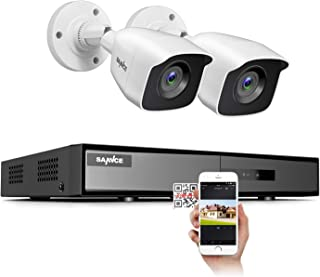 SANNCE 720P Video Security Camera System 1080N DVR and (2) 1.0MP Indoor/Outdoor Weatherproof CCTV Cameras, IR LEDs Night V...