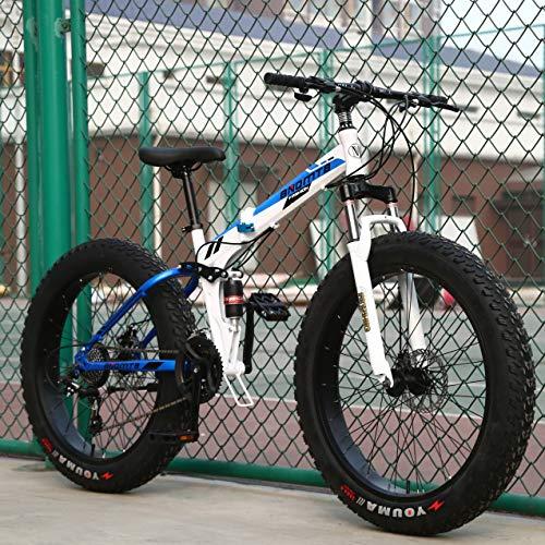 WJH Variable Speed Folding Mountainbike Studentensport Fahrradstoßdämpfung 20 Zoll 24 Zoll 26 Zoll Geeignet für Menschen mit Einer Höhe von 135-190Cm,Blau,7 Speed 26 inch