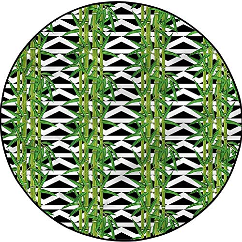 Bamboo Country Cottage Round Rug Yoga Decor Floor Cushion Japanese Tropical Nature Diameter 60 in(152cm)