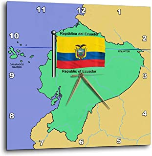 3dRose dpp_51730_1 Map and Flag of Ecuador with Republic of Ecuador Printed in Both English and Spanish-Wall Clock, 10 by 10-Inch