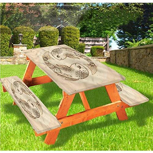 LEWIS FRANKLIN Cortina de ducha Zodiac Piscis, mesa de picnic y banco, mantel ajustable Harmony Fish Edge ajustable, 28 x 72 pulgadas, juego de 3 piezas para mesa plegable