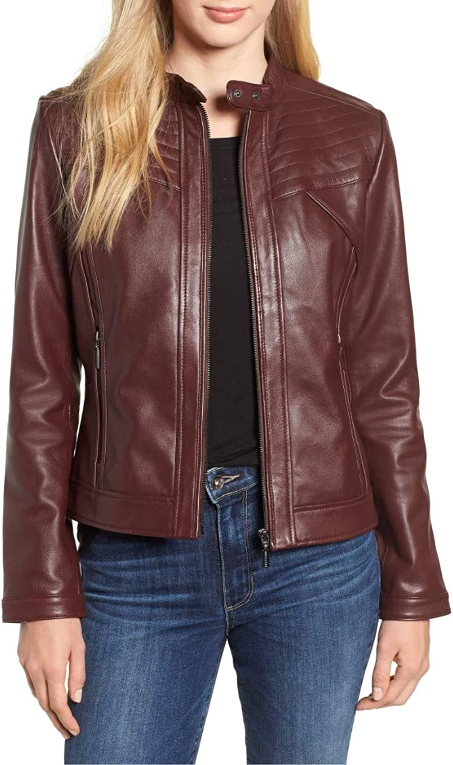 Dillo Leather Motorcycle Bomber Biker Maroon Real Leather Jacket for Women