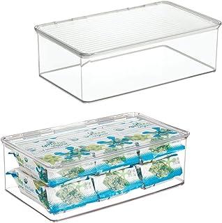 mDesign bac de rangement pour réfrigérateur (lot de 2) – rangement frigo en plastique avec contenance 3,1L – boîte aliment...