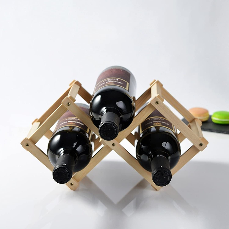 WAN SAN QIAN- Wood Creative Fold Wine Racks More Bottled Wine Bottle Holder Decorated Bar Wine rack (Size   S)