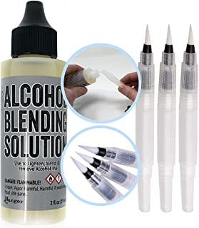 Ranger Tim Holtz Adirondack 2-Ounce Alcohol Blending Solution and 3 Pixiss Blending Brush Pens