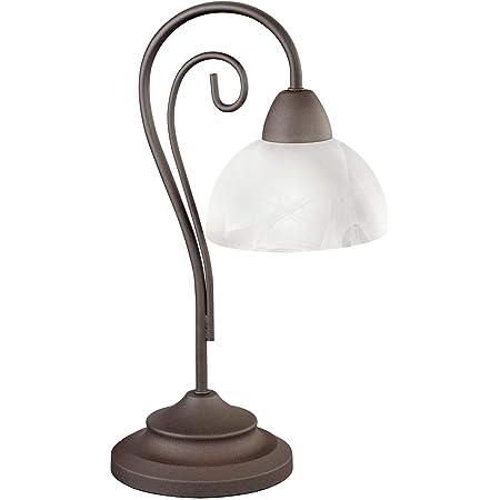 Reality, Lampe de table, Country 1xE14, max.40,0 W Verre, Blanc, Corps: metal, Rouille Ø:15,5cm, H:40,0cm IP20,Interrupteur de cordon