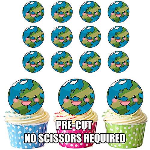 prédécoupés Planète Terre – comestible pour cupcakes/gâteau Décorations (lot de 12)