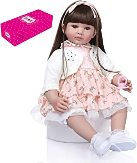 Docooler Decdeal 24 inch Reborn Baby Doll Big Size Lifelike Silicone Rebirth Dolls Soft Touch Girl Princess Dolls for Kids Birthday Toddler Gift with White Coat Floral Skirt