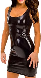 Sexy Women's Plus Size Faux Leather Dress and G-String Lingerie Set