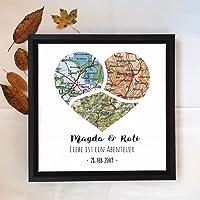 Individuelle Herz Karte für 1 bis 5 Städte, Personalisierbar, Jahrestag Hochzeitsreise Geschenk für Partner,...