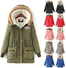 PEATAO Women Casual Long Sleeve Hooded Coat Patchwork Drawstring Fur Collar Thickened Coats Down