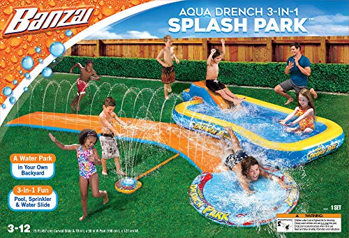 BANZAI Aqua Drench 3-in-1 Splash Park, Multi