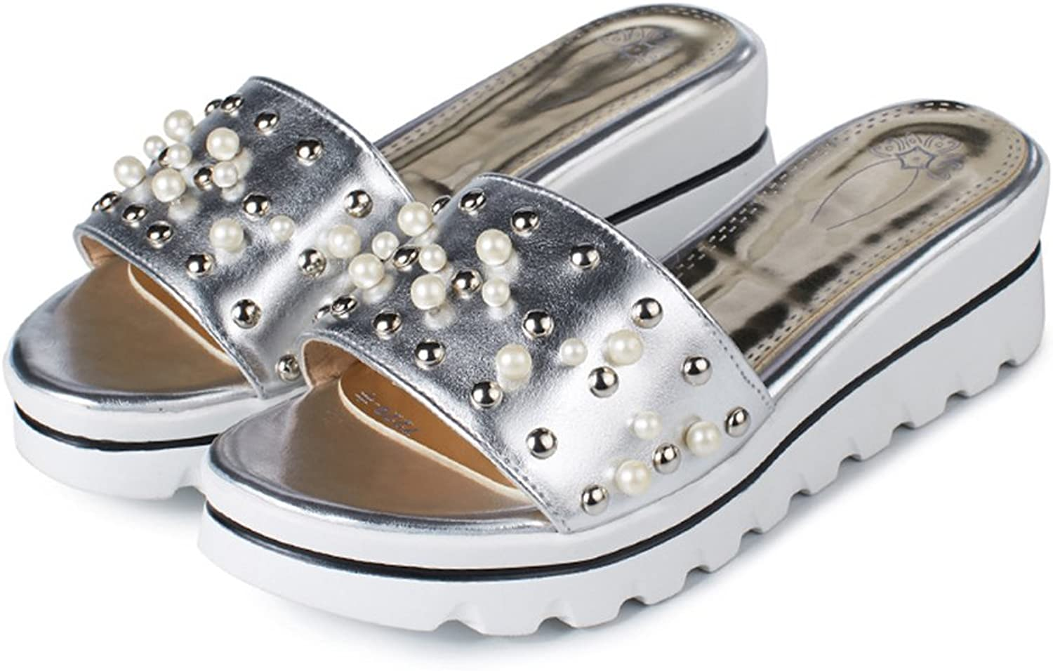 Guenns Leather Pearls Lady Platform Slide Sandals Womens Sandles