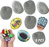 Piedras planas grandes para pintar, 8 unidades, piedras decorativas para la playa, el jardín, para pintar, decoración de acuario, 5-8 cm, para pintar y decorar