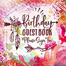 Birthday Guest Book: Boho Guestbook For Girls Women - Floral Tribal Bohemian Unlined Pages To Write / Sign In - Bright Colorful Anniversary Party Memory Celebration Keepsake Journal Red Pink