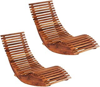 vidaXL 2x Solid Acacia Wood Rocking Sun Loungers Weather Resistant Deck Rocker Garden Chair Recliner Patio Sunbed Outdoor ...