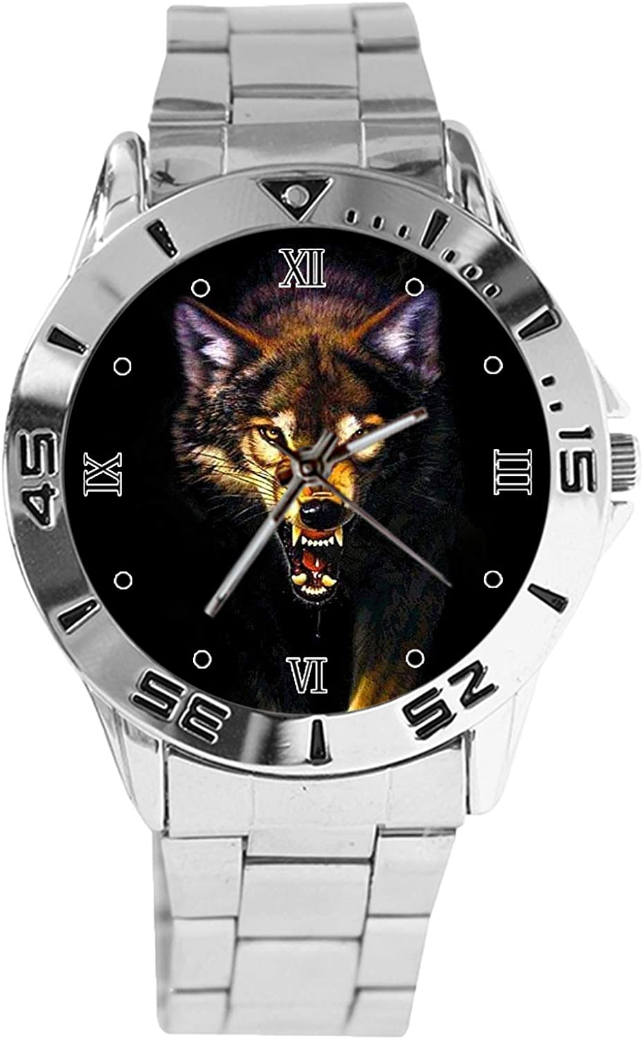 free shipping Angry Wolf Japan's largest assortment Design Analog Wrist Dial Quartz Classic Watch Silver