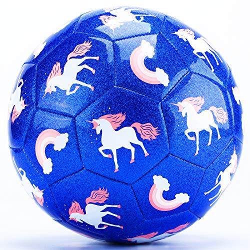 CubicFun Balon Futbol Juguetes para Niños 3 4 5 6 7 8 años, Balones de Fútbol Unicornio Efecto Brillo Pelota Fútbol Talla 3 con Bomba, Bonito Regalo para Niñas Niños