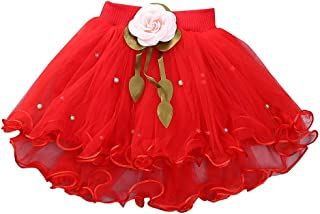 IWEMEK Baby Girl Solid Color Dance Tutu Pettiskirt Princess Ballet Dancewear Fluffy Tulle Pleated Multi-Layer Tiered Skirt
