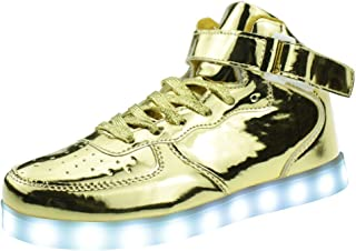 LED Light Up Shoes USB Charging Flashing High-Top Sneakers for Boys Girls Mens Womens