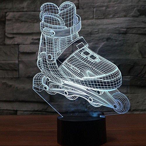 Visuelles Licht Gaming Lights Led 3D-Rollschuh Modellierung Nachtlicht 7 Farben Ändern Aggressive Inline-Schreibtischlampe Junge Schlafzimmer Nacht Dekor Leuchten Touch-Schalter