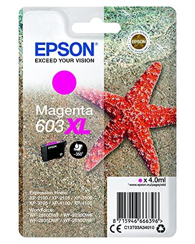 Epson 603XL Etoile de Mer Magenta, Cartouche d'encre d'origine XL Haute capacité, XP-2100 XP-2105 XP-2150 XP-3100 XP-3150 XP-4100 XP-4150 WF-2810DWF WF-2820 WF-2830DWF WF-2840 WF-2850DWF WF-2870