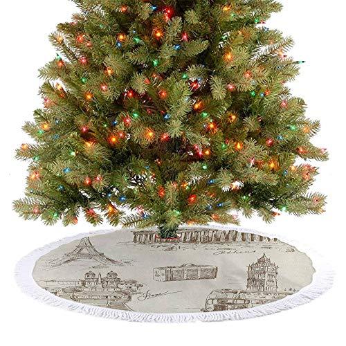 Homesonne Colección de arte de viaje sobre monumentos europeos y decoración de maletas de estilo vintage combina perfectamente con tu árbol, color marrón crema 77 cm
