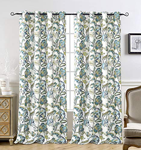 DriftAway Layla Classic America Style Floral Leaves Room Darkening Window Curtain Grommet 2 Panels 52 Inch by 84 Inch Teal Gray