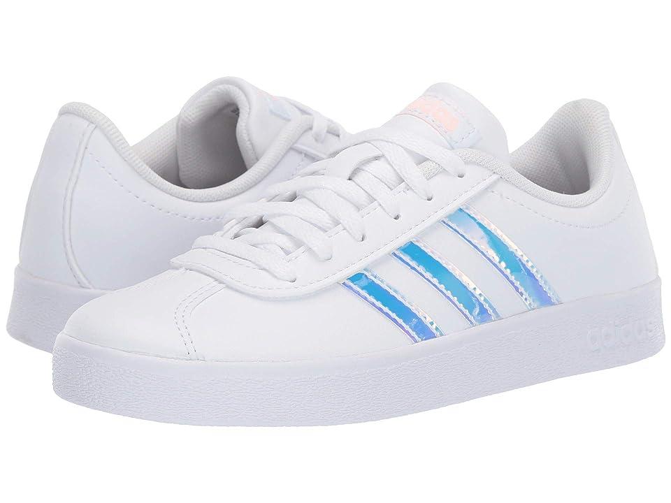 adidas Kids VL Court 2 (Little Kid/Big Kid) (Footwear White/Footwear White/Clear Orange) Kids Shoes