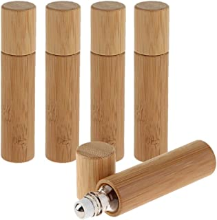 oshhni 5 X 10ml Natural Bamboo Refillable Empty Essential Oil Roll On Bottle