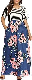 Allegrace Women's Plus Size Floral Print Striped...