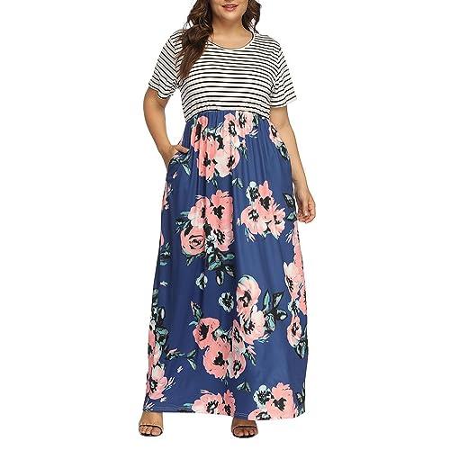 1de0fc51349 Allegrace Women s Plus Size Floral Print Striped Patchwork Maxi Dress Short  Sleeve Long Dresses