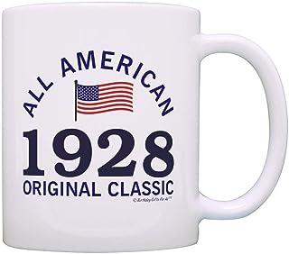 Xarchy 90e anniversaire cadeaux pour tous 1928 tout américain classique cadeau patriotique tasse à café tasse à thé blanc