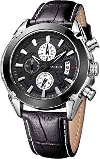 KKmoon Man Watch Genuine Leather Band 3 Small Dials Quartz Wristwatch Analog Display Date Chronograph Black/Brown