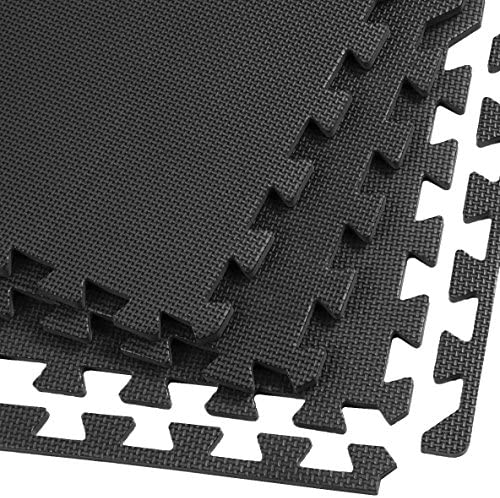 Xspec 3 8 Thick 100 sq ft 25 pcs Gym EVA Foam Floor Mats 24 x 24 T Pattern Black 1 Year Limited product image