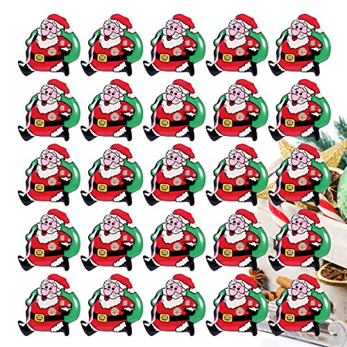 Mobestech 50Pcs Christmas Brooch LED Light Up Santa Claus Brooch Flashing Pins for Christmas Decorations Ornaments Gift