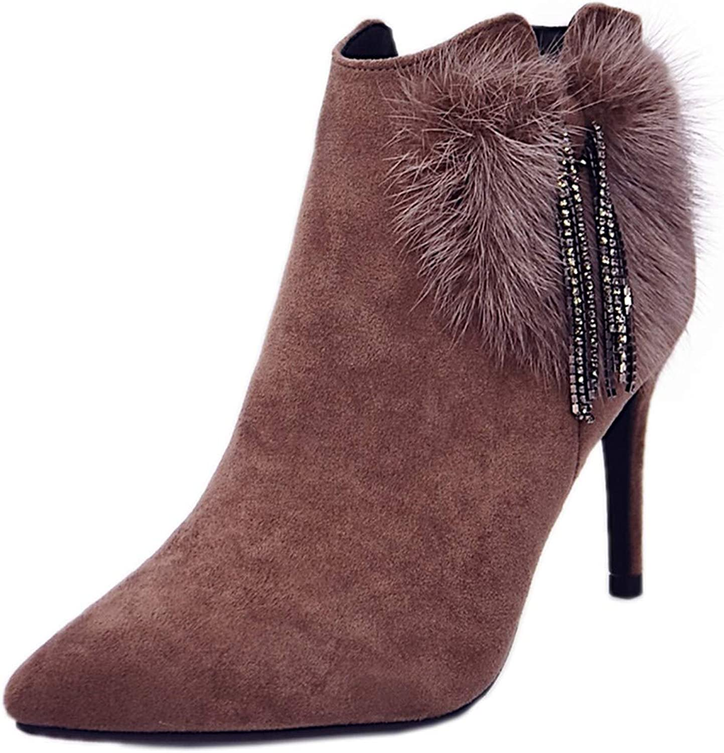 GTVERNH Women's shoes Autumn Boots Women Fashion 8Cm High Heels Pointed Thin Heels Tassels Boots 100 Sets