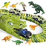 Dinosaur Toys, 260 Pcs Dinosaur Car Race Track Toy with 3 Cars Vehicle, 7 Dinosaurs and 2 Dinosaur Head, 250 Flexible Train Track Playset Best Gift for Boys Girls Ages 3 4 5 6 7 Years Old and Up