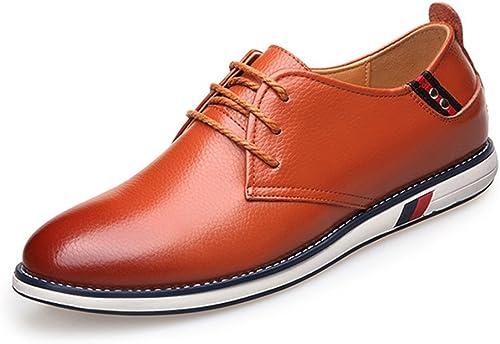 XHD-Chaussures Chaussures pour Hommes Classiques et Simples en Cuir de Vachette supérieure avec Lacets et Semelle Plate pour Hommes (Couleur   Marron, Taille   6.5 MUS)