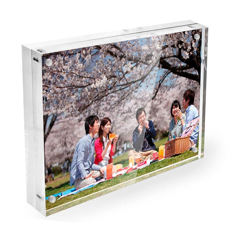 Lapeno アクリルフォトフレーム 写真立て ピクチャーフレーム マグネットタイプ プレゼント L判 両面透明 卓上 ハガキサイズ 賞状 ポスター展示 横&縦 2WAY設置可能(89x127x20 mm)