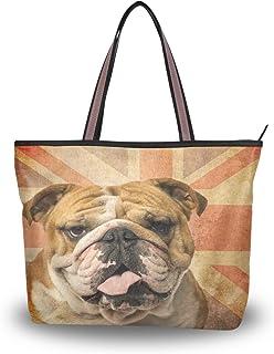 BIGJOKE Süße englische Bulldogge Mops Handtasche für Frauen Tote Tasche Top Griff Schultertasche Satchel Geldbörse
