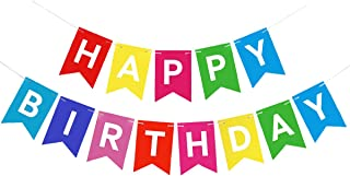 Colorful Happy Birthday Banner Sign Party Decor and Event Decorations for Kids Adults