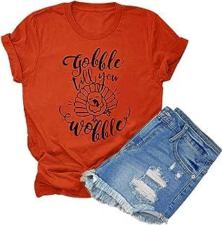 Anbech Gobble Till You Wobble Thanksgiving T-Shirt Women Turkey Print O-Neck Tee Tops