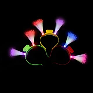 Fun Central 12 Packs - LED Head Boppers - Light Up Fiber Optic Headbands - Assorted