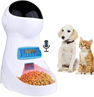 Sailnovo Automatic Cat Feeder Pet Dog Feeder Food Dispenser with Timer Programmable Voice Recorder and Portion Control, 4L Auto Pet Feeder for Cats Dogs