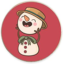 Yaya Cafe™ Christmas Gifts, Printed Laughing Snowman Fridge Magnets - Round