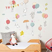 THYON Wall Stickers Cartoon Rabbit Wall Murals Cute Nursery Room Home Décors Decorative Peel and Sticker Adhesive Room Decorative for Baby Kids Toddlers