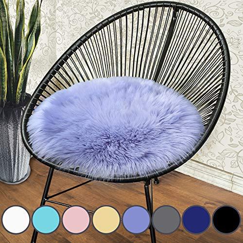 junovo Premium Soft Round Faux Fur Sheepskin Seat Cushion Chair Cover Plush Area Rugs for Bedroom, 18 x 18inch, Light Purple